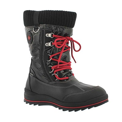 Cougar Girls' COMO black waterproof pull on winter boots