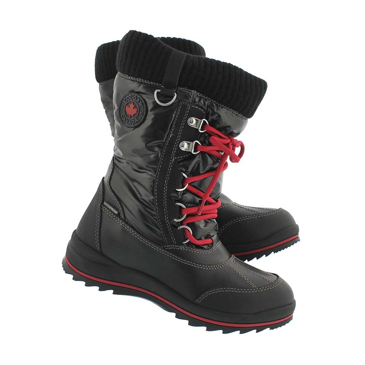 Grls Como black wtpf pull on winter boot