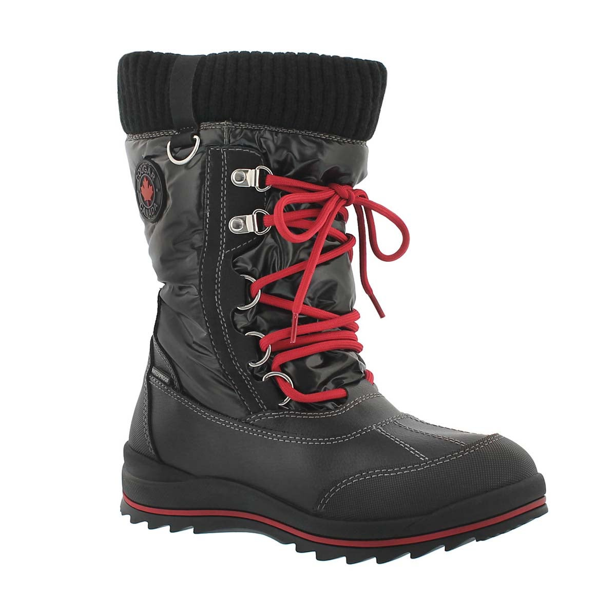Girls' COMO black waterproof pull on winter boots