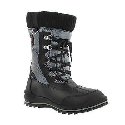Cougar Girls' COMO grey waterproof pull on winter boots