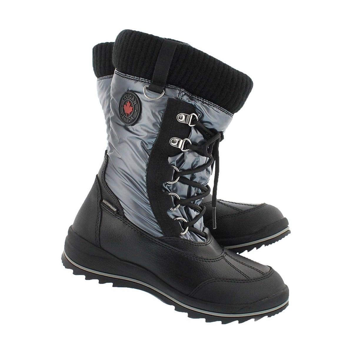 Grls Como grey wtpf pull on winter boot