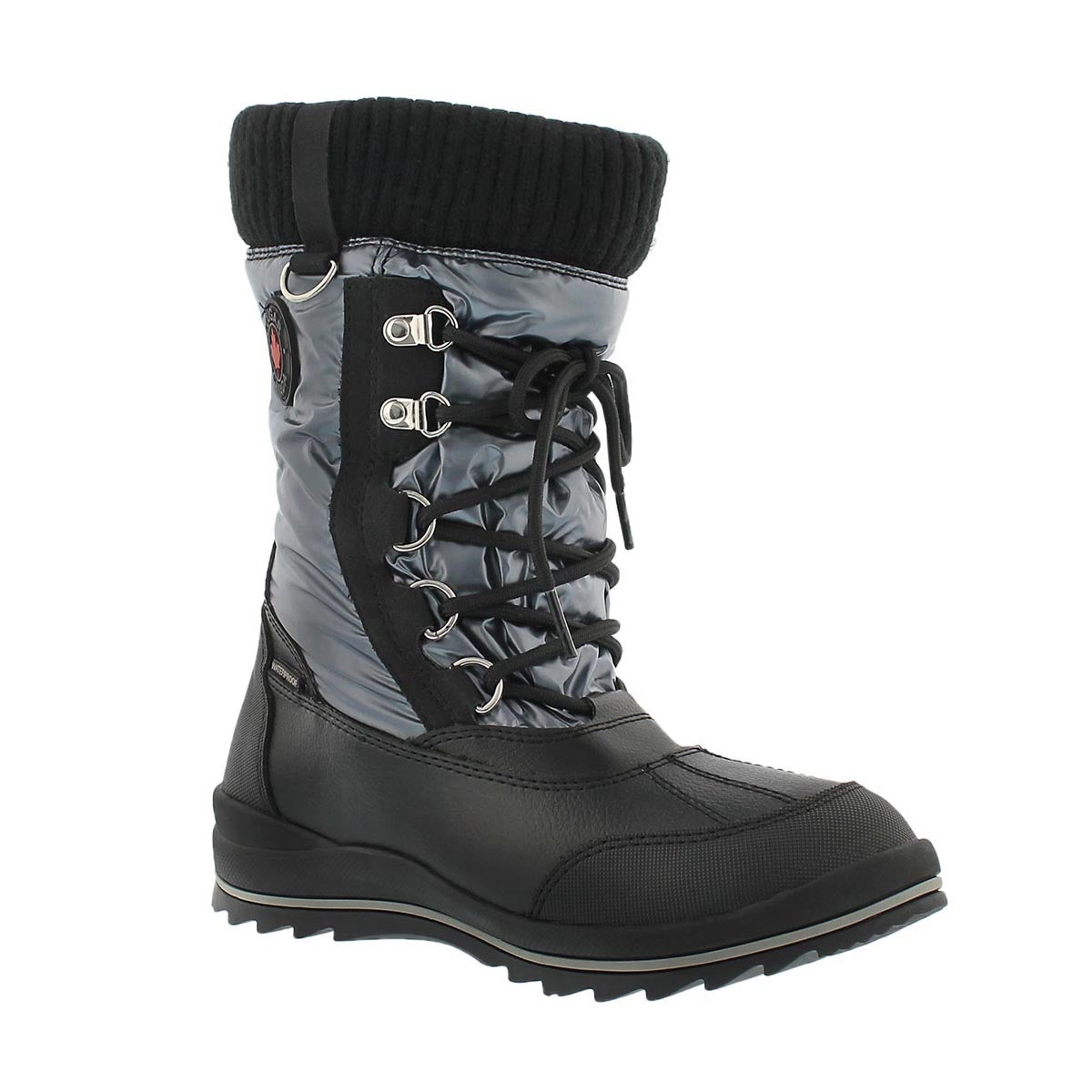 Girls' COMO grey waterproof pull on winter boots