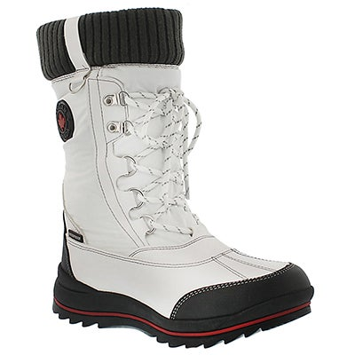 Cougar Girls' COMO white waterproof pull on winter boots