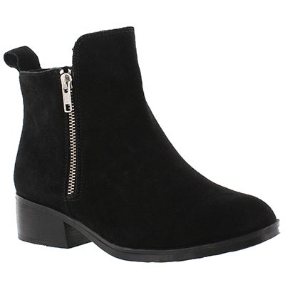 Lds Connect blk suede wtpf ankle bootie