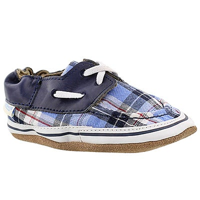 Robeez Infants' CONNOR blue plaid soft slippers