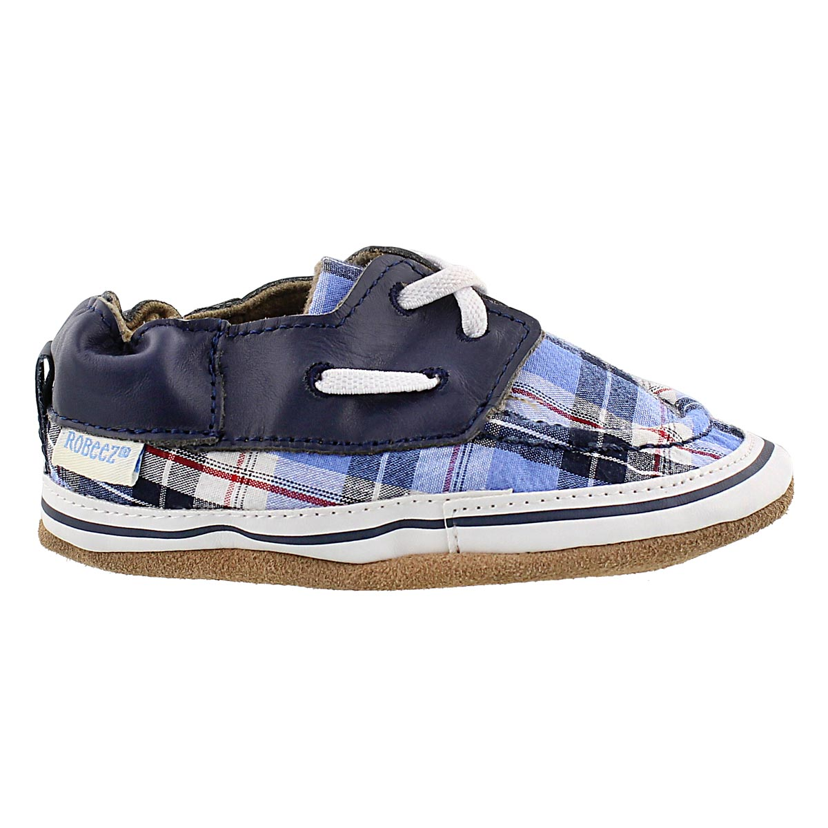 Inf Connor blue plaid soft slipper