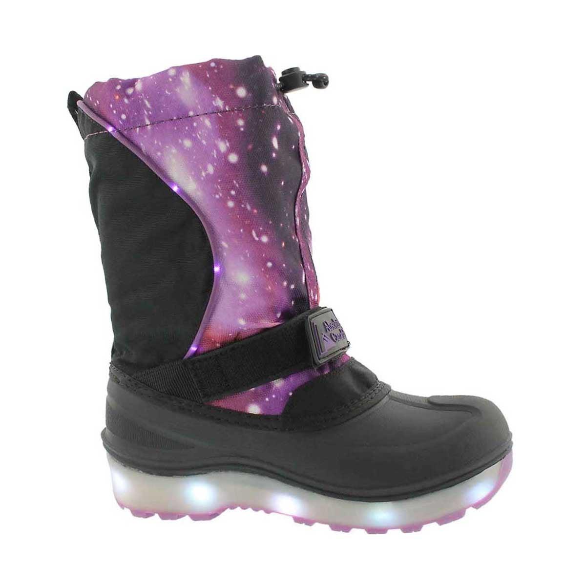 Girls' COSMOS purple wtprf light up winter boots