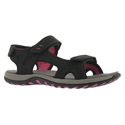 Lds Courtney black 3 strap sport sandal