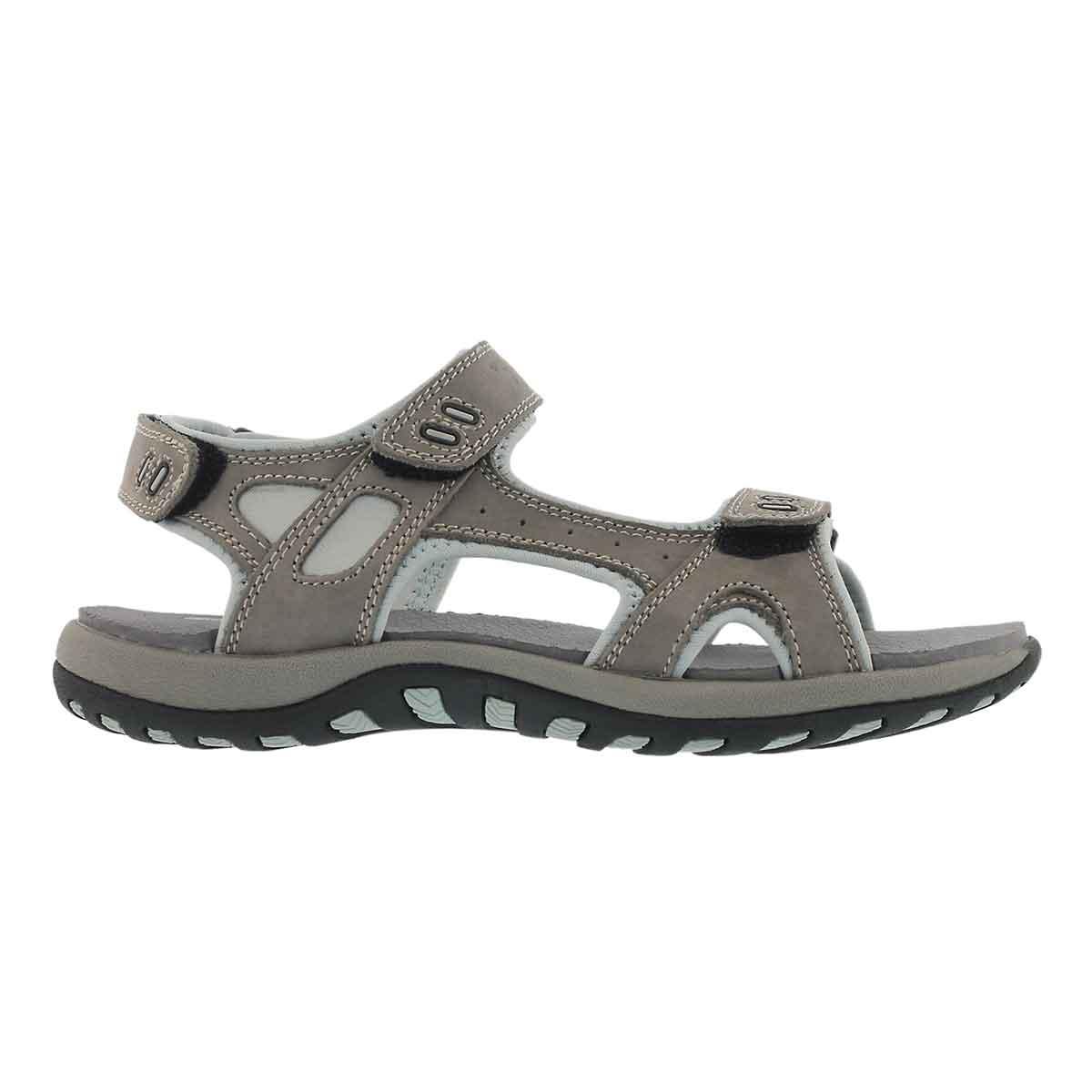 Lds Courtney grey 3 strap sport sandal