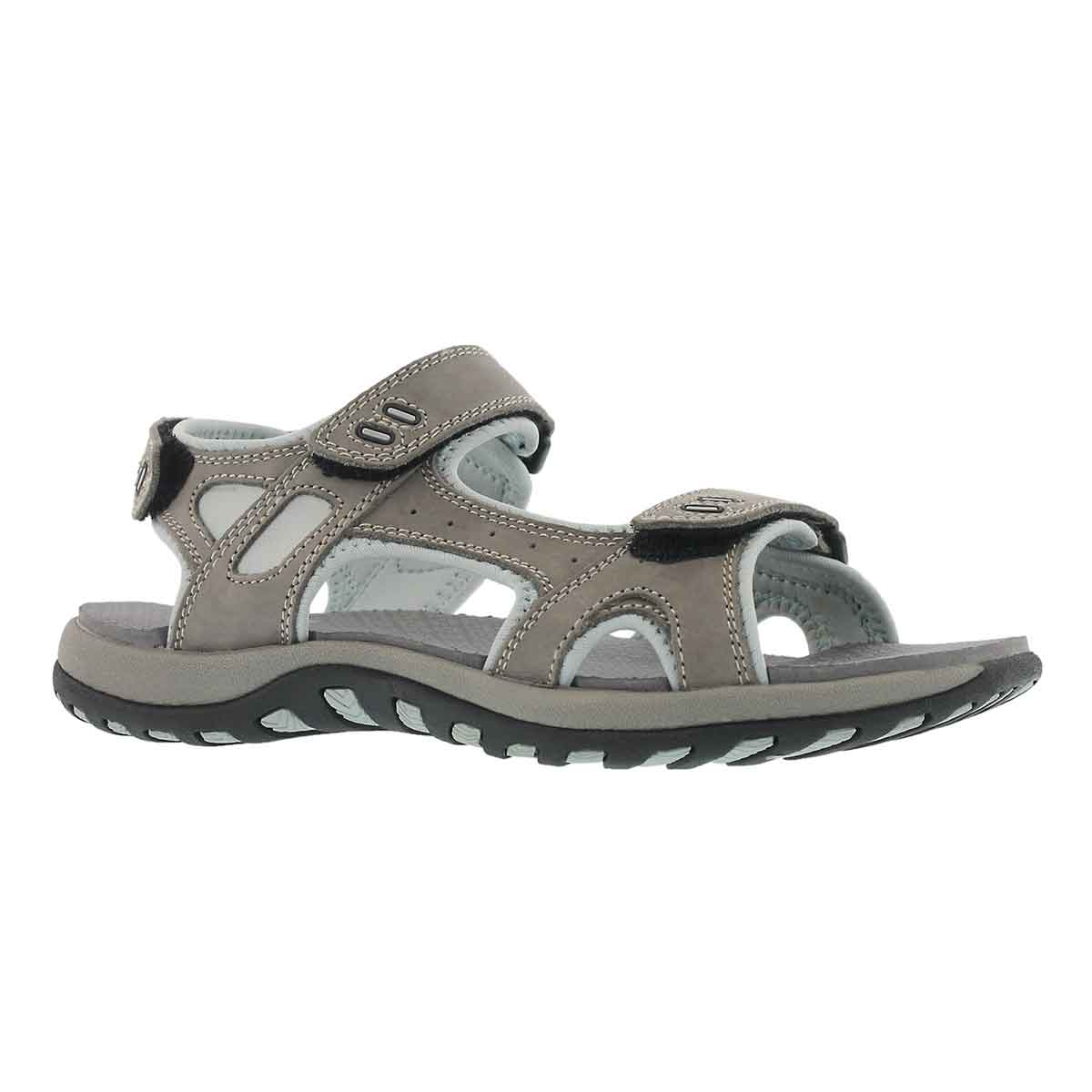 Women's COURTNEY grey 3 strap sport sandal