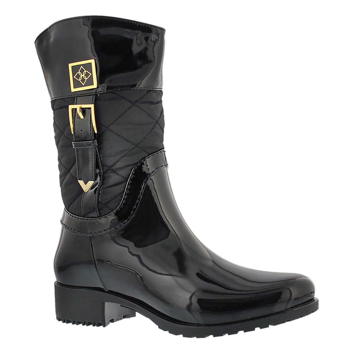 Lds Coventry Quilted Mid black rain boot