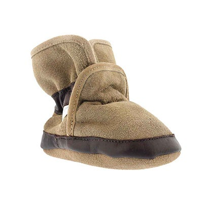 Robeez Infants' COZY ANKLE BOOTIE tan soft sole slippers