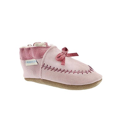 Robeez Infants' COZY MOCCASIN pink soft sole slippers