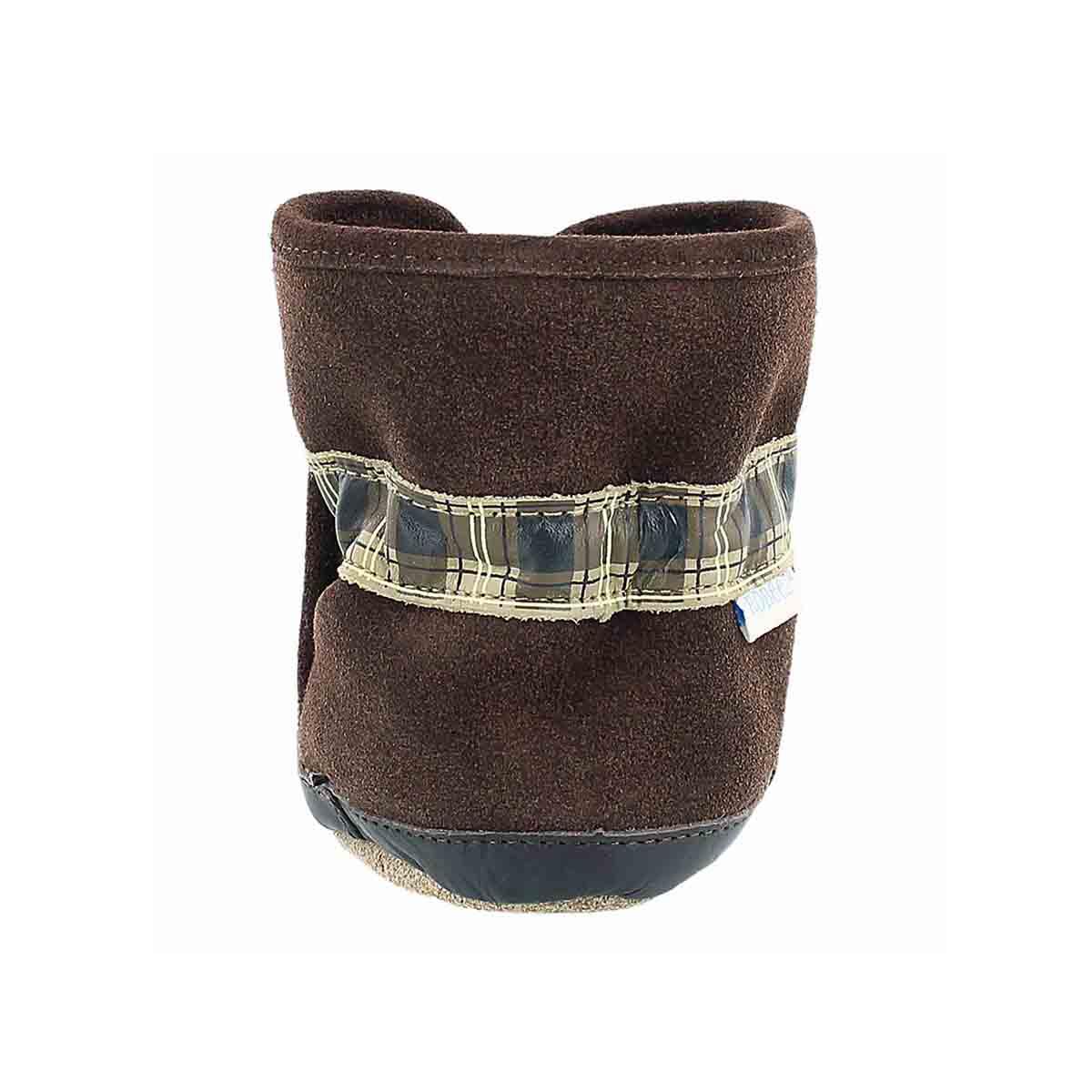 Inf CozyAnkleBootie brn softsole slipper