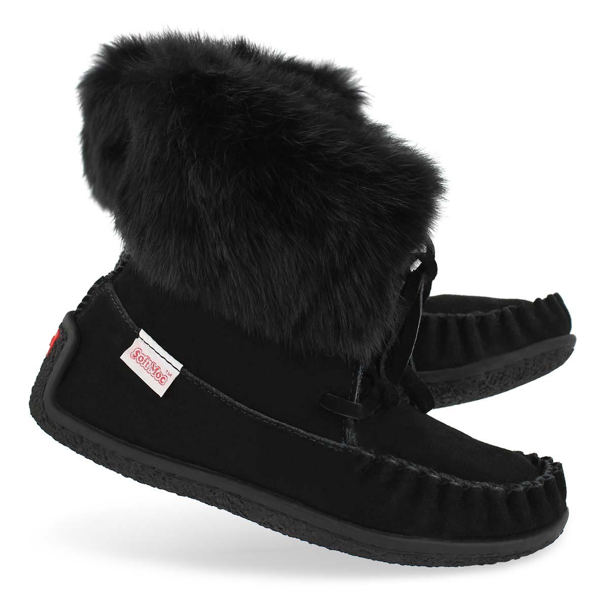 Lds Crissa blk rabbit fur ankle moccasin