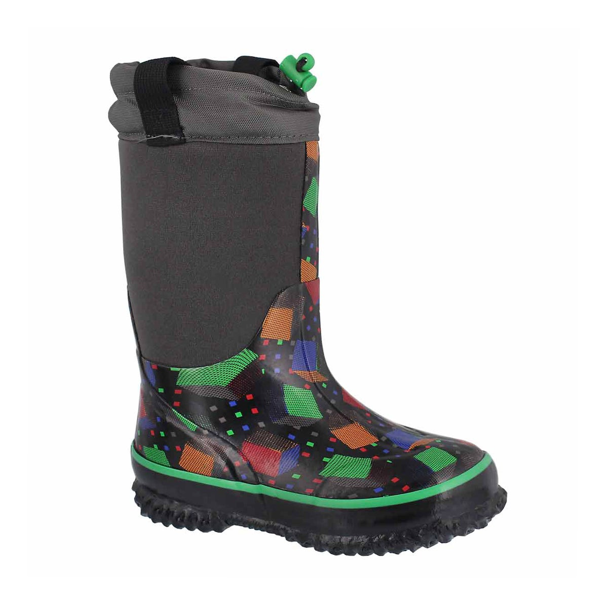 Boys' CUBES black waterproof pull on winter boots