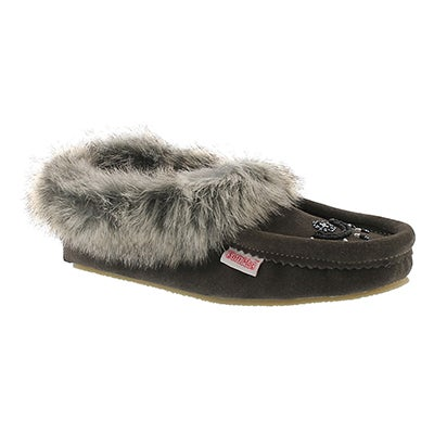 SoftMoc Women's CUTE FAUX ME grey crepe sole moccasins
