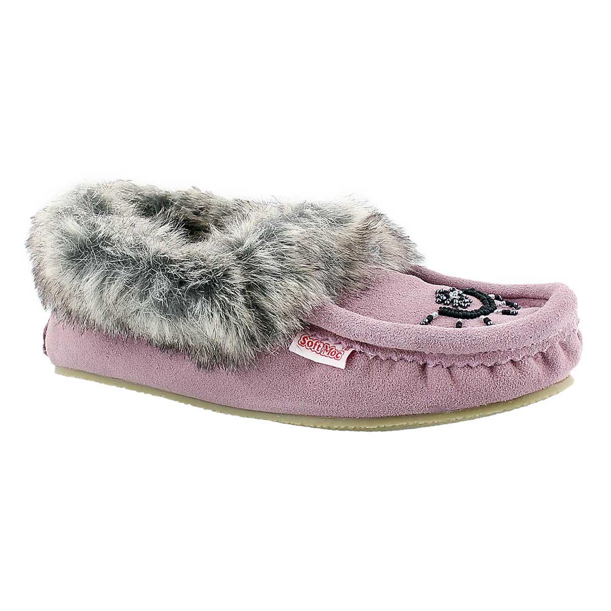 Women's CUTE FAUX ME mauve crepe sole moccasins