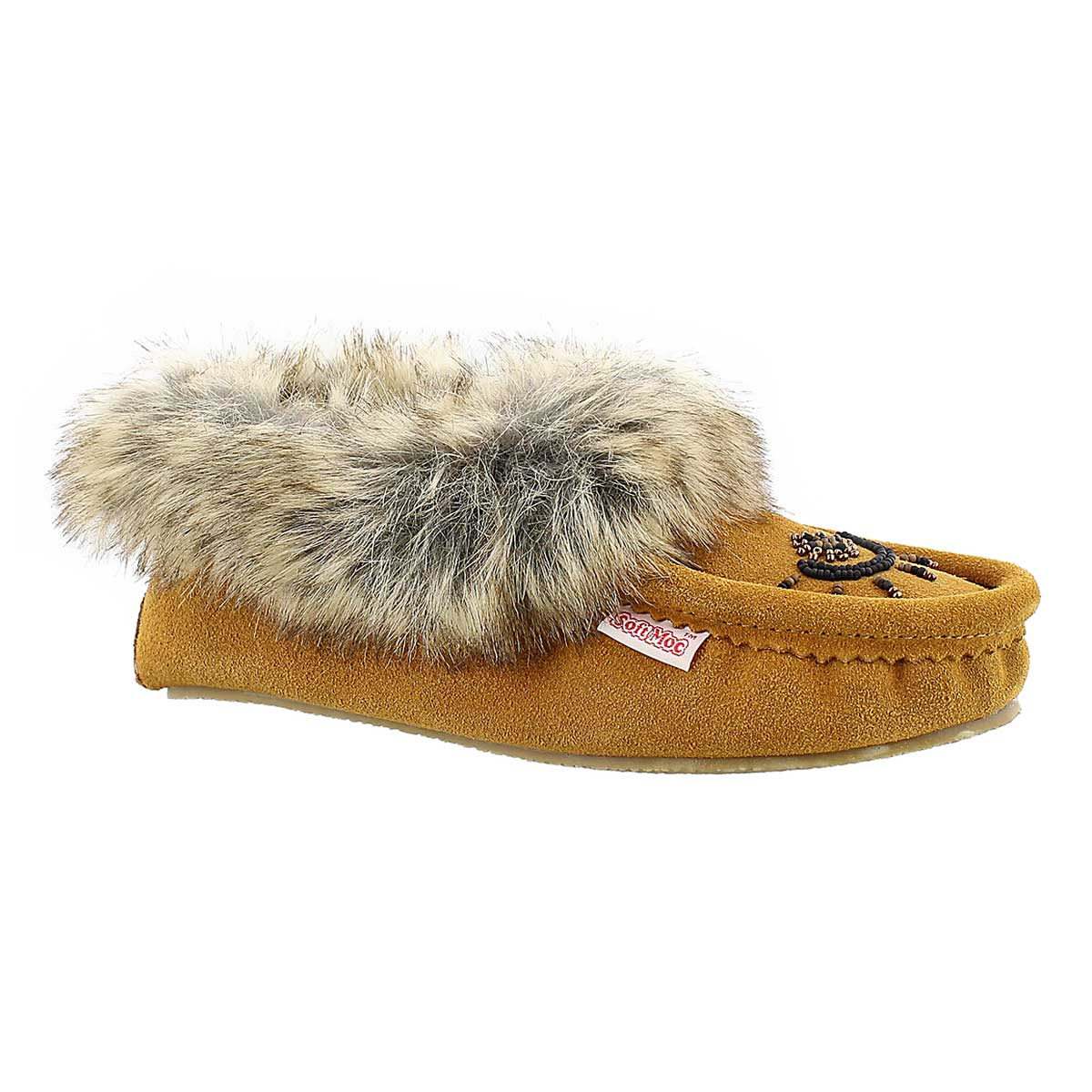 Women's CUTE FAUX ME tan crepe sole moccasins