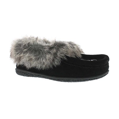 SoftMoc Girls' CUTE 2 JR black faux rabbit moccasins
