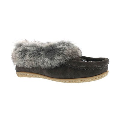 SoftMoc Girls' CUTE 2 JR grey faux rabbit moccasins