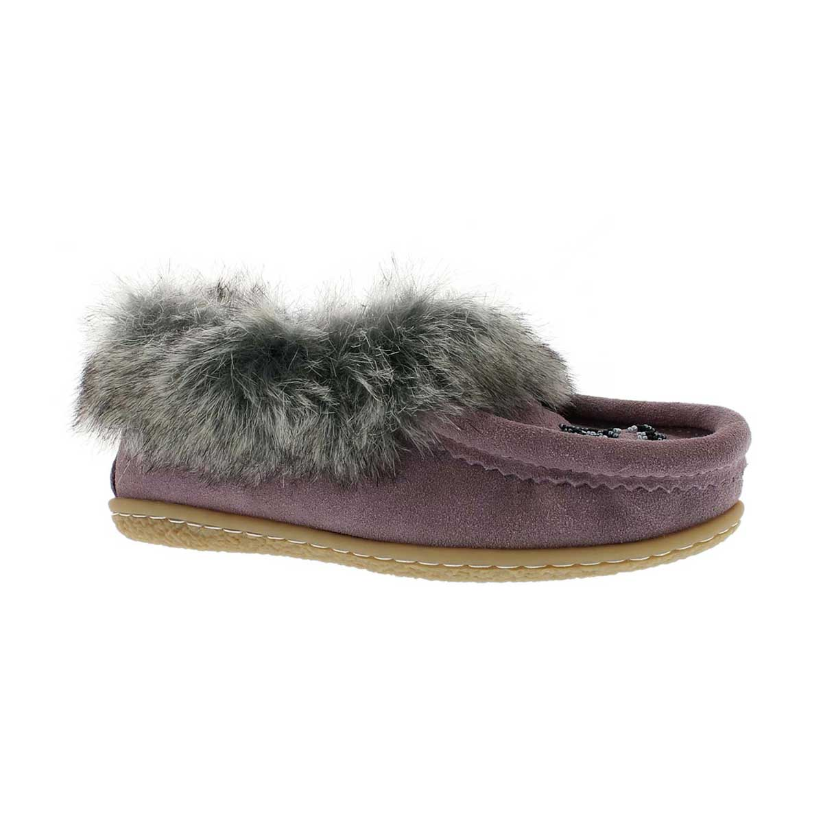 Girls' CUTE 2 JR mauve faux rabbit moccasins