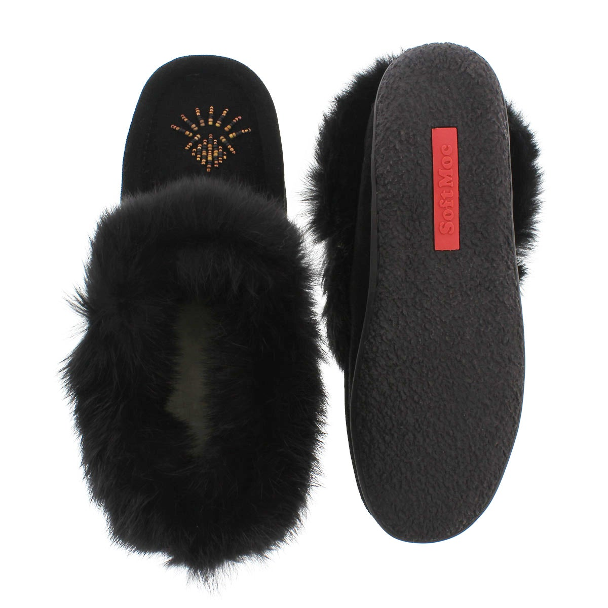 Lds Cute 3 black rabbit fur moccasin