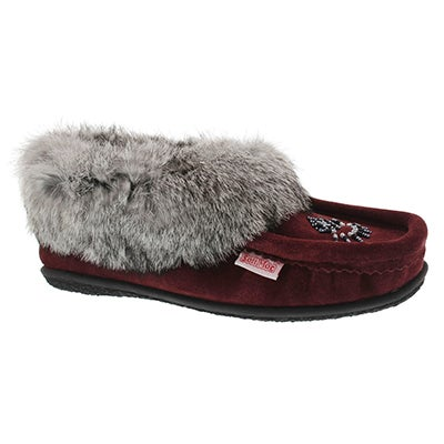 SoftMoc Women's CUTE 3 burgundy rabbit fur moccasins
