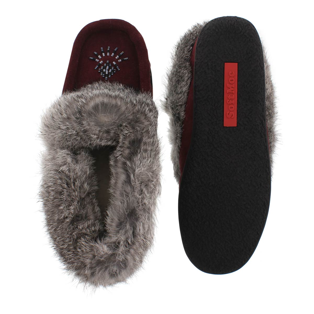Lds Cute 3 burgundy rabbit fur moccasin