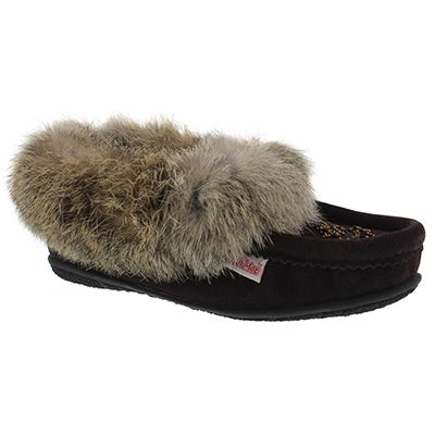 SoftMoc Women's CUTE 3 chocolate rabbit fur moccasins