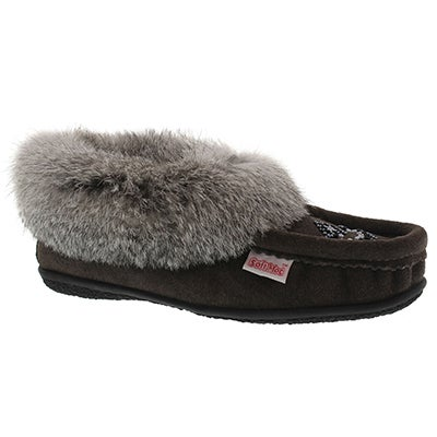 Lds Cute 3 gry rabbit fur moccasin