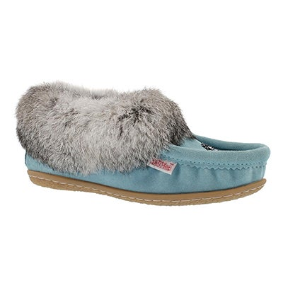 SoftMoc Women's CUTE 3 light blue rabbit fur moccasin