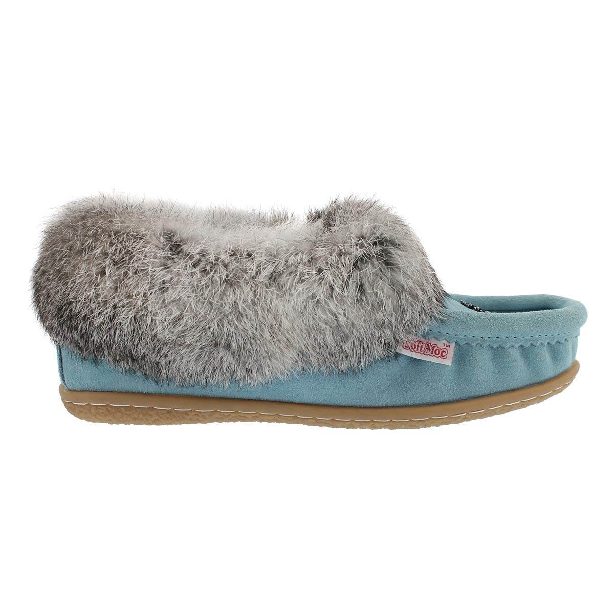 Lds Cute 3 light blu rabbit fur moccasin