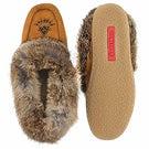 Lds Cute 3 mocha rabbit fur moccasin