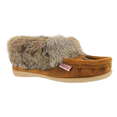 SoftMoc Women's CUTE3 mocha rabbit fur moccasins