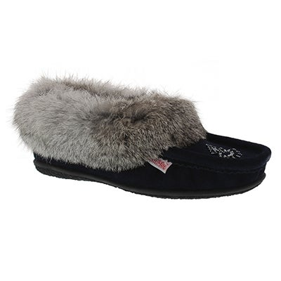 SoftMoc Women's CUTE 3 navy rabbit fur moccasins