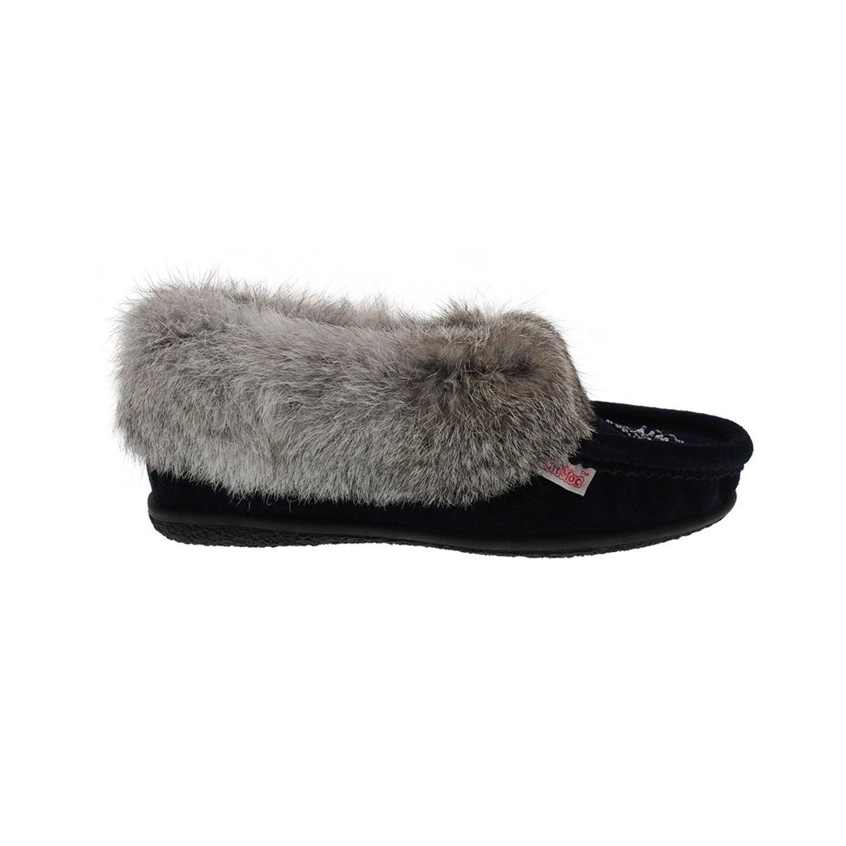 Lds Cute 3 navy rabbit fur moccasin