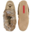 Lds Cute 3 sand rabbit fur moccasin