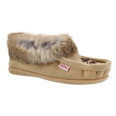 SoftMoc Women's CUTE 3 sand rabbit fur moccasins