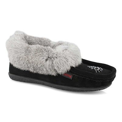 Lds Cute 4 blk/gry rabbit fur moccasin