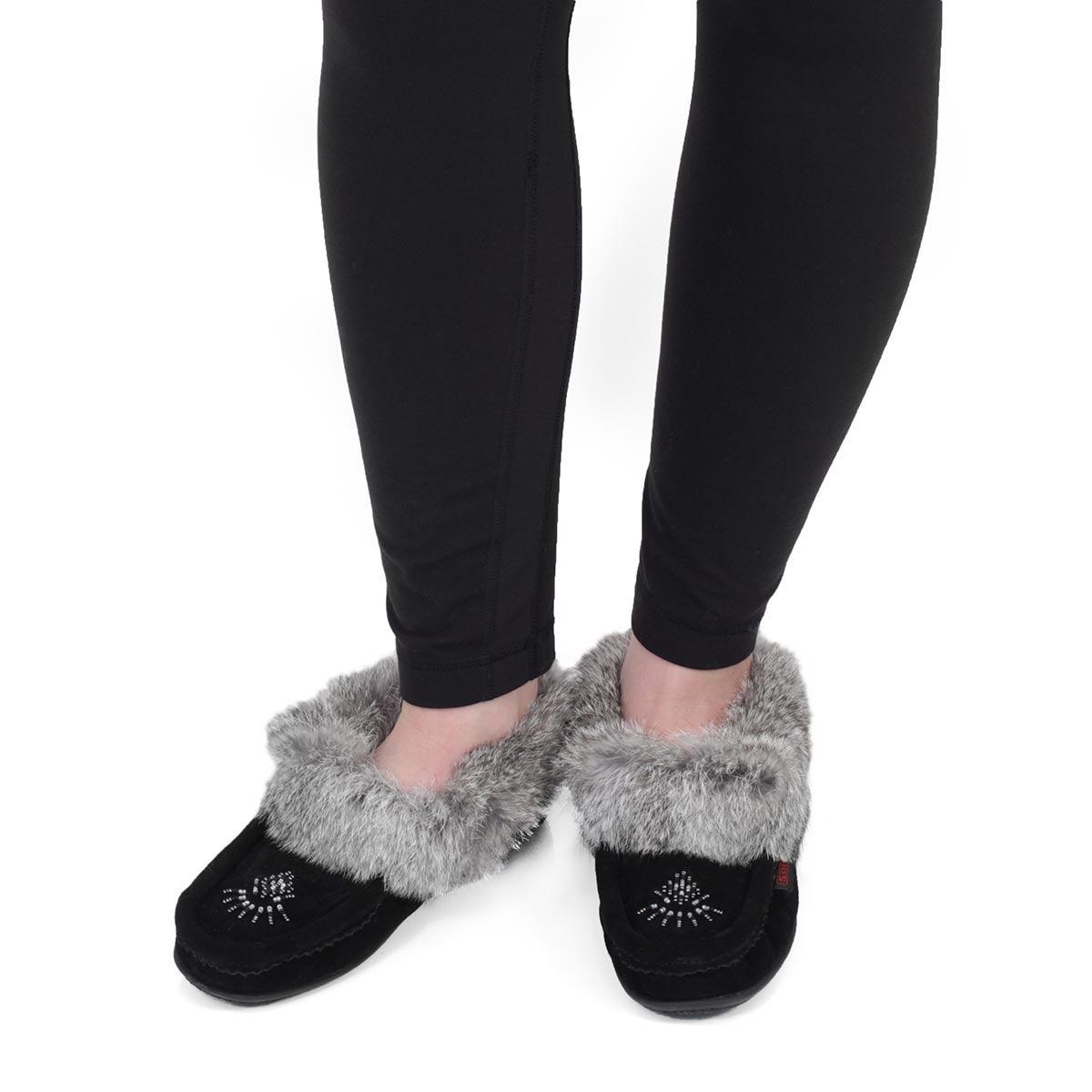 Lds Cute 4 blk/gry rabbit fur moccasin