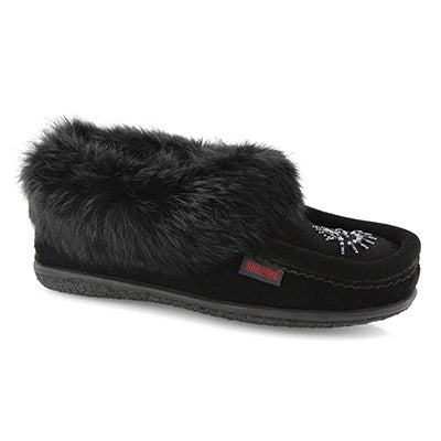 Lds Cute 4 black rabbit fur moccasin