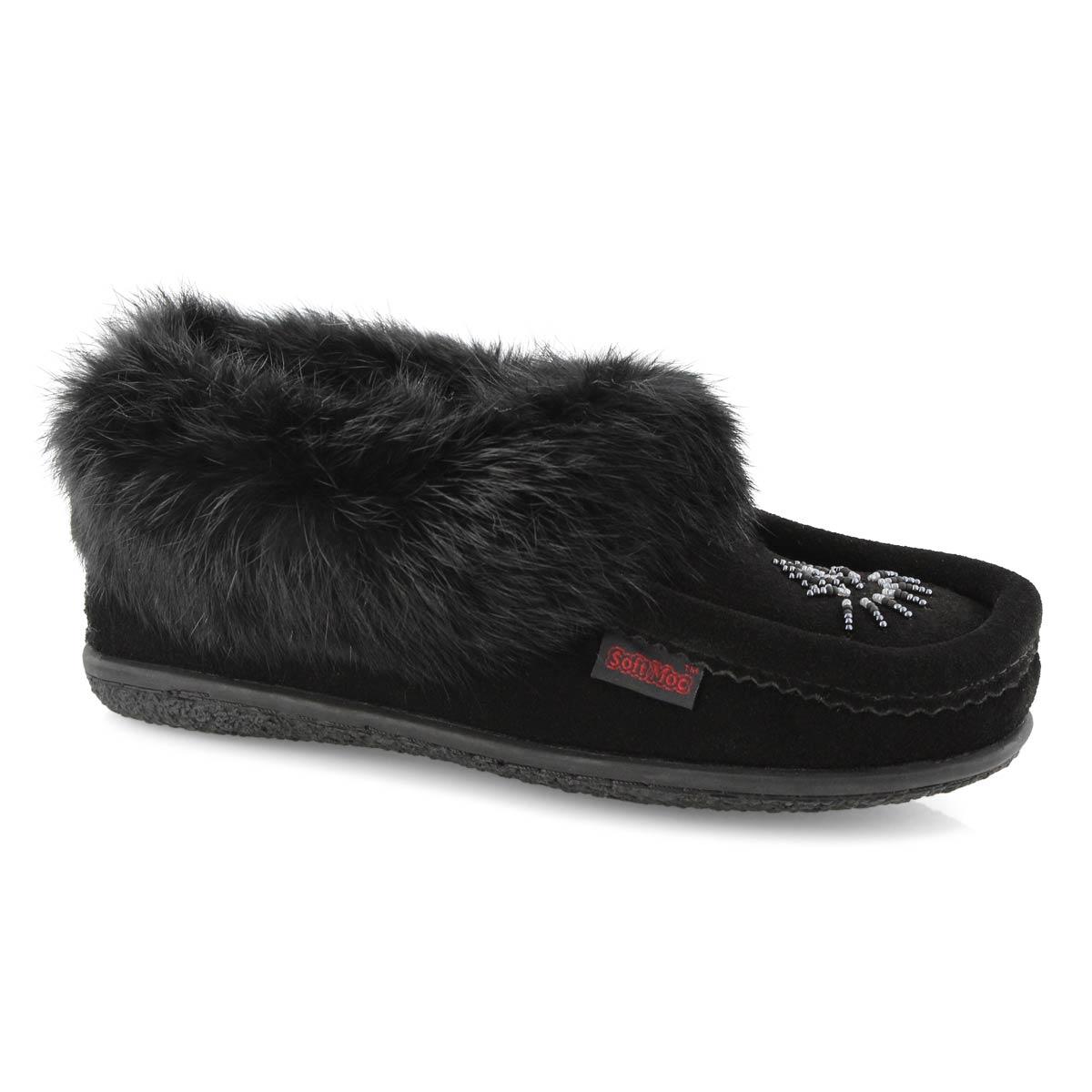 Lds Cute 4 black rabbit fur moccasin