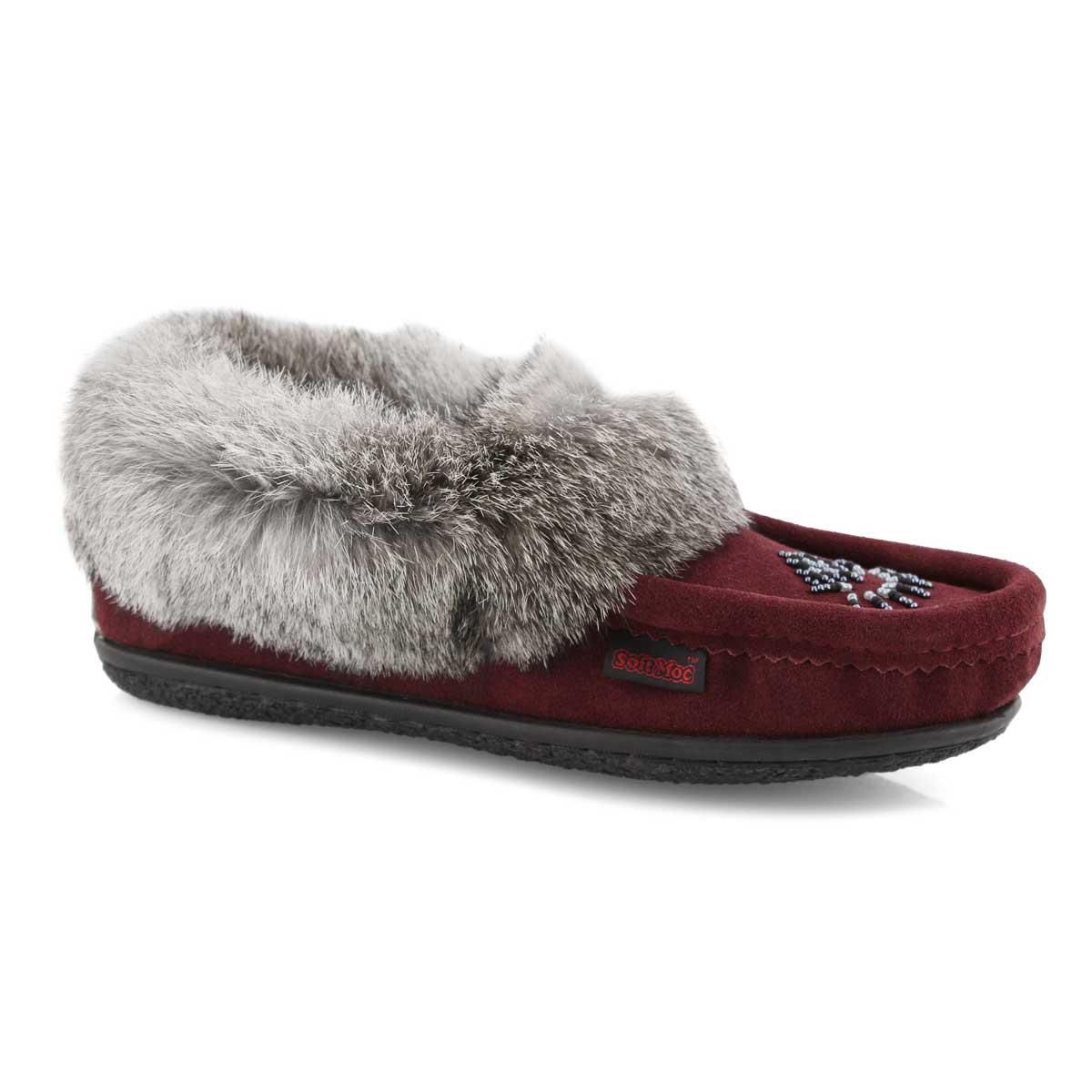 Lds Cute 4 burgundy rabbit fur moccasin