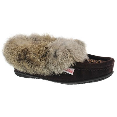 Lds Cute 4 chocolate rabbit fur moccasin