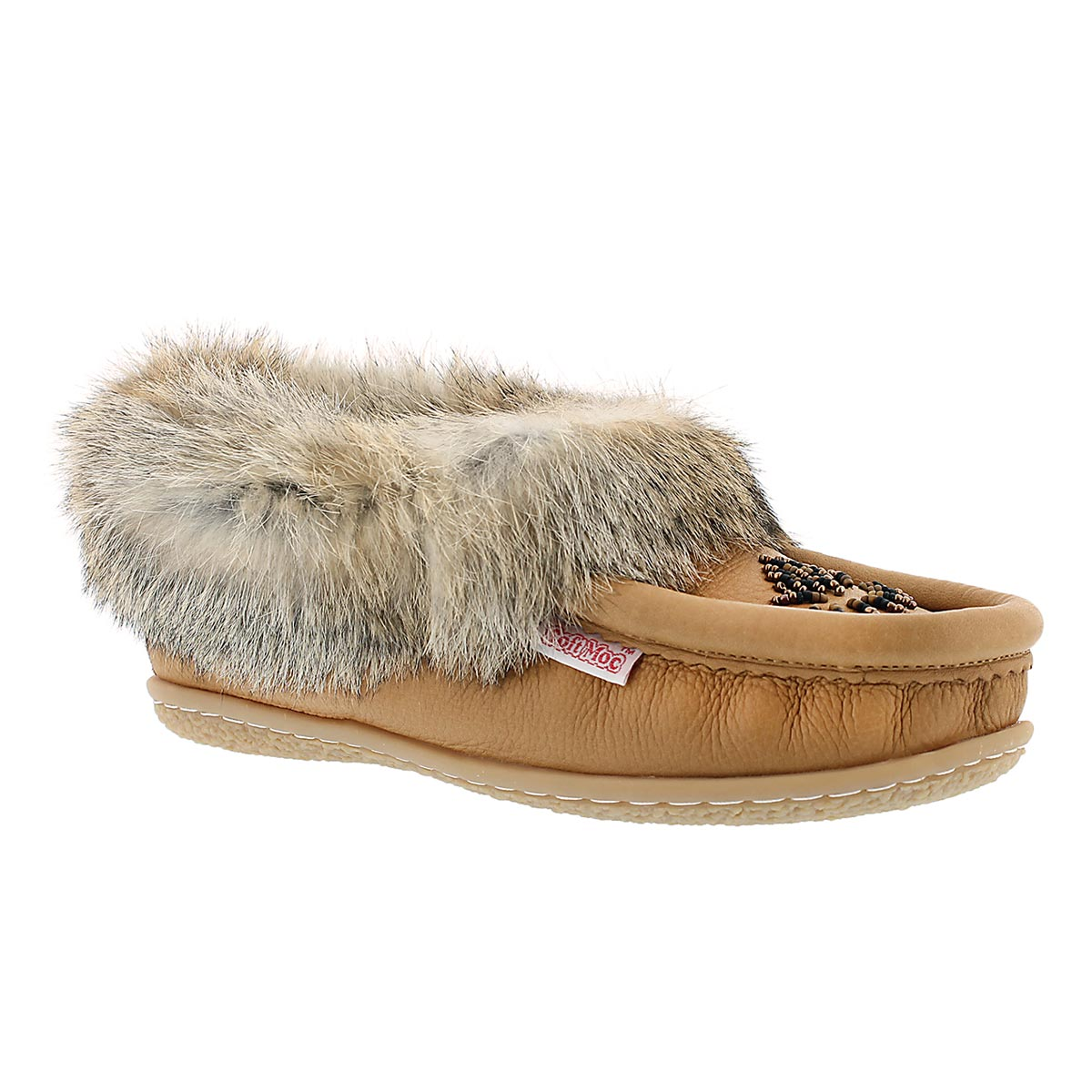 Women's CUTE 4 cork rabbit fur leather moccasins