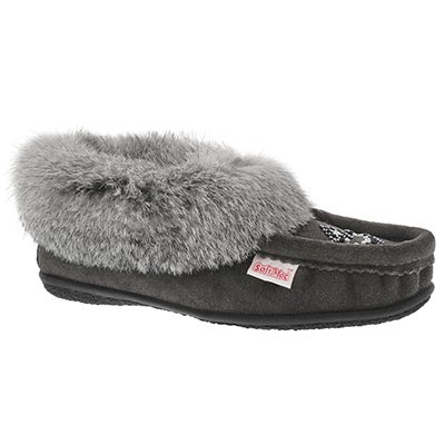 Lds Cute 4 gry rabbit fur moccasin