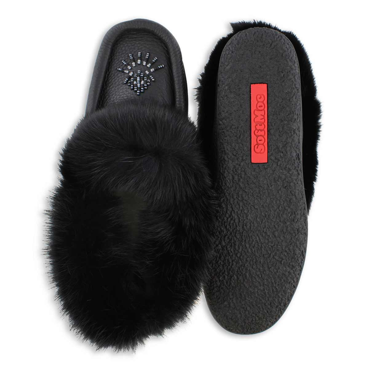 Lds Cute4 black lthr rabbit fur moccasin