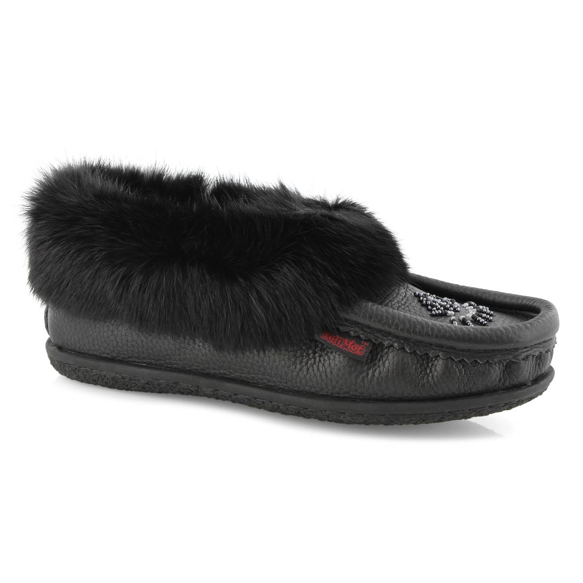 Women's CUTE 4 black leather rabbit fur moccasins