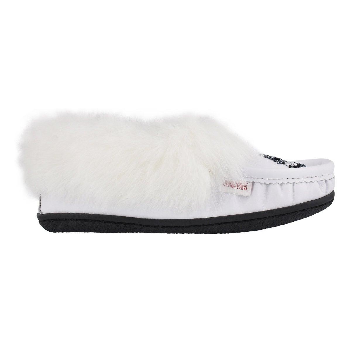 Lds Cute4 white lthr rabbit fur moccasin